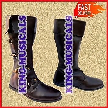 Largo Estilo Piel Medieval Negro Pure Color Botas Zapatos zxqPw5Pd7