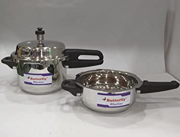 Butterfly Stainless Steel Pressure Cooker, 3 L, Silver (Pack of 2) Pressure Cookers at amazon