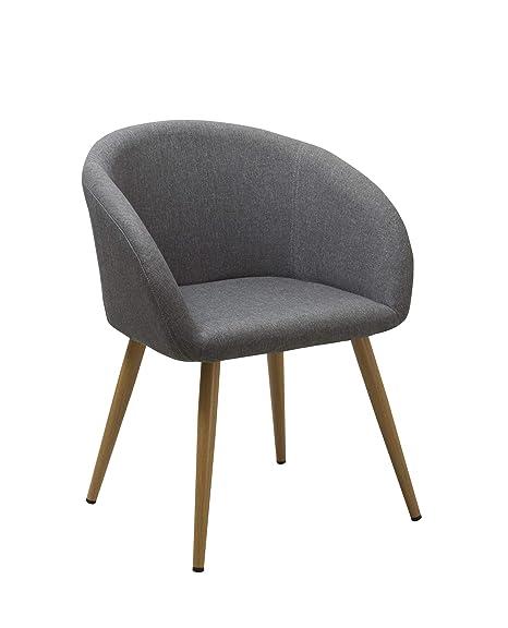 Sedia da Sala da Pranzo in Tessuto (Lino) Grigio Design Retro con ...