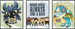 Silly Goose Gifts Dragon Riders Art Print Design Little Vikings Wall Decor Set (Bathroom Set)