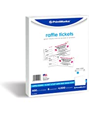 PrintWorks Perforated Paper for Raffle Tickets, Coupons, and More, Tear-Away Stubs, 8.5 x 11, 24 lb, 8 Tickets Per Sheet, 500 Sheets, 4000 Tickets Total, White (04294-1) (2.125 x 5.5)