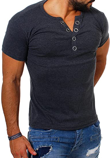 best service ba7ce 7b3b3 Young&Rich Herren Uni Feinripp T-Shirt mit Knopfleiste & Tiefem Ausschnitt  Deep V-Neck Einfarbig Big Buttons Große Knöpfe 1872