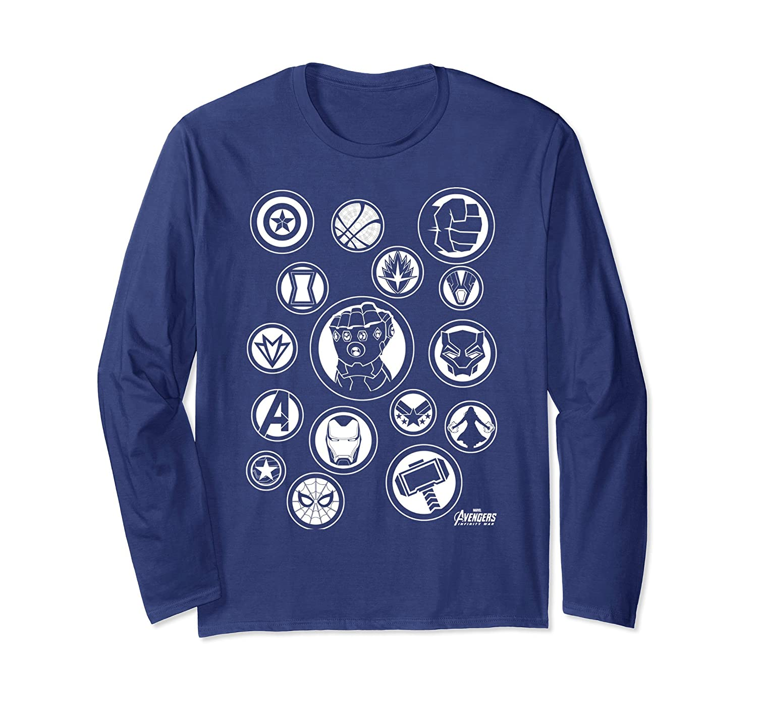 cd3bb3b2 Amazon.com: Marvel Avengers Infinity War Tonal Hero Icon Long Sleeve Tee:  Clothing