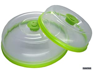 "Press n Fresh Universal Vacuum AirTight Food Sealer Container Plate Platter Lid Cover Topper, Air Tight Spatter Cover Dome, Stackable, Dishwasher and BPA Free (9"" + 7"", Green)"