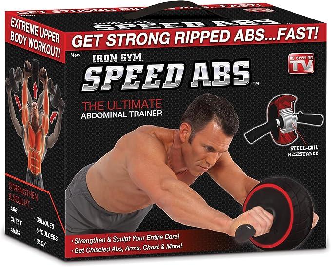 Iron Gym Speed Abdominal Ab Roller Rueda, Negro/Rojo, 9.4 x 3.6 x 7.9