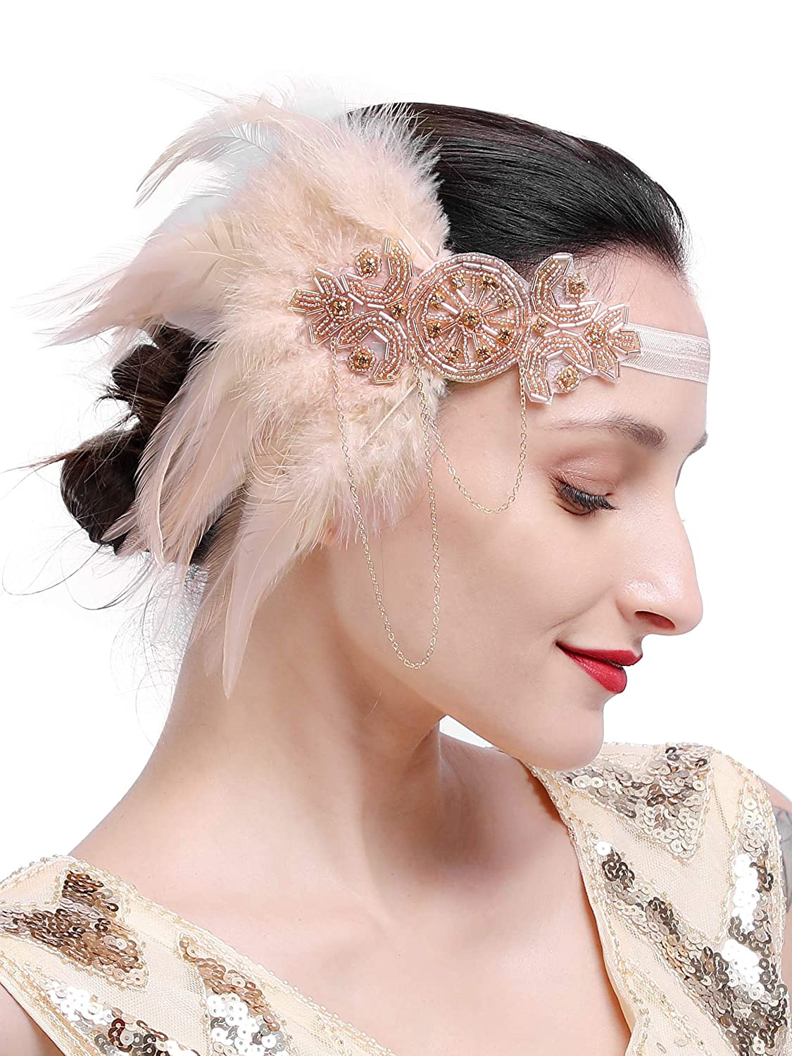Vintage Dresses Australia- 20s, 30s, 40s, 50s, 60s, 70s Zivyes 1920s Gatsby Flapper Feather Headband 20s Accessories Crystal Beaded Wedding Headpiece AUD 11.34 AT vintagedancer.com