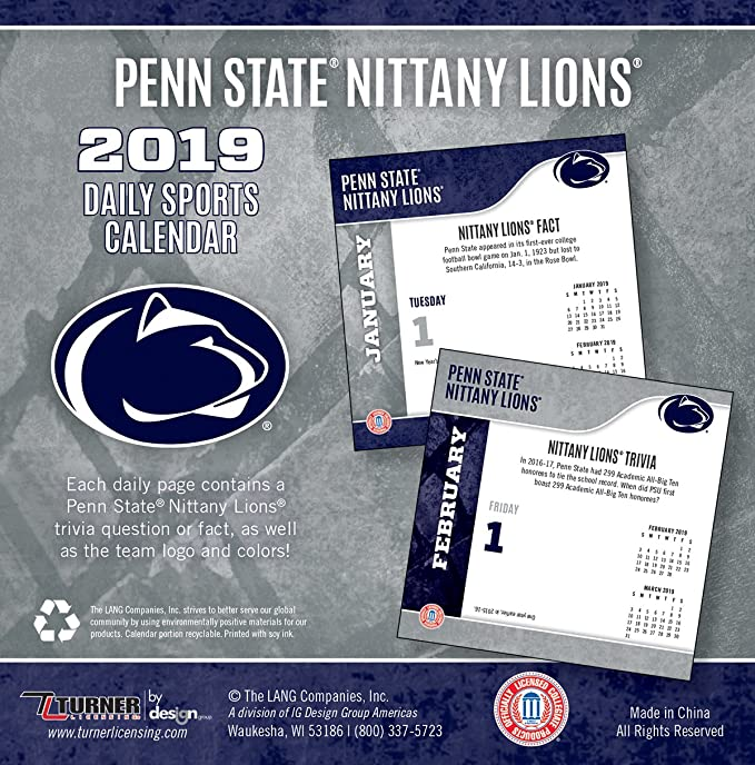 Penn State Calendar 2019 Amazon.com: Turner 1 Sport Penn State Nittany Lions 2019 Box
