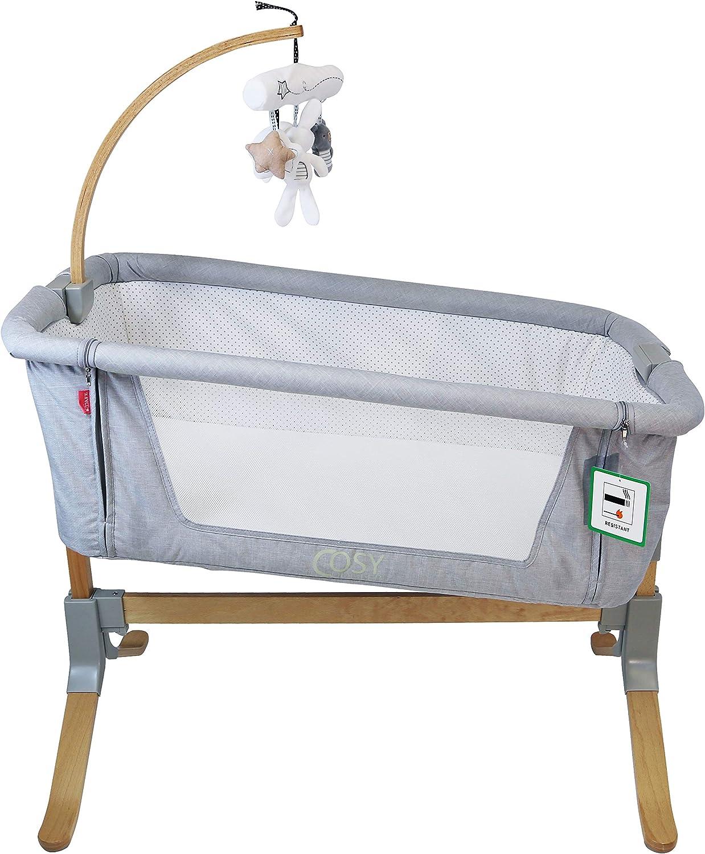 Dark Grey Cosy Cuddler Next2you Bedside Baby Coo Sleeping Crib Solid Wood