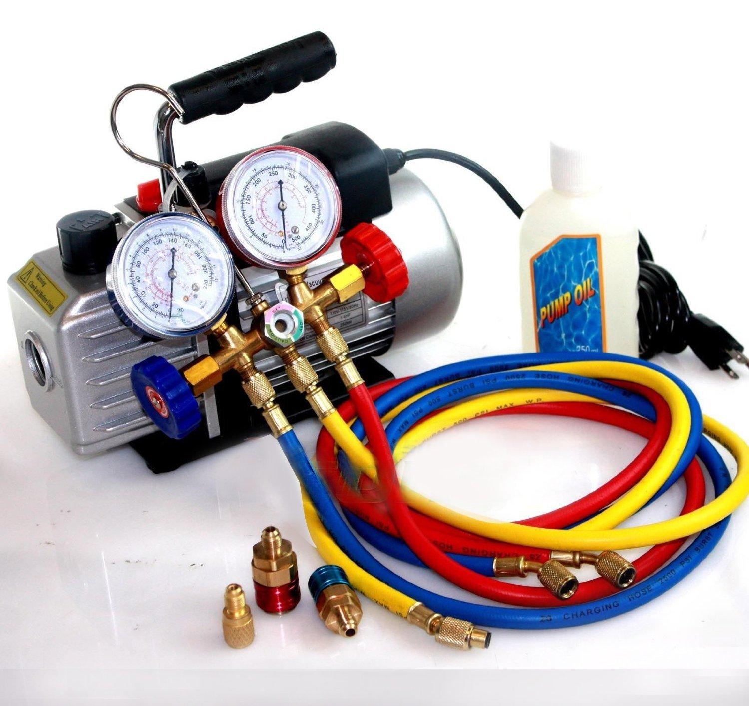 Deluxe R134a R12 R22 R502 Manifold Gauge Set & 2 5CFM Vacuum Pump 5ft HVAC  Hoses by I_S IMPORT