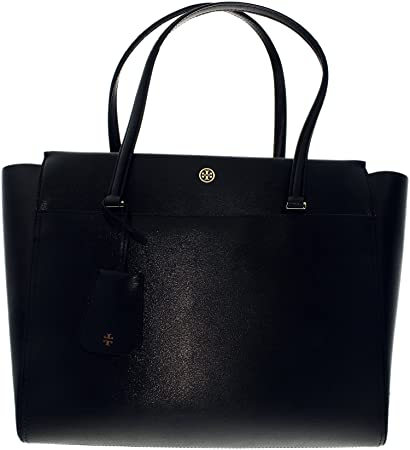 0390e398d3a Buy Tory Burch Women s Small Parker Leather Top-Handle Bag Tote - Black Cardomom  Online at Low Prices in India - Amazon.in