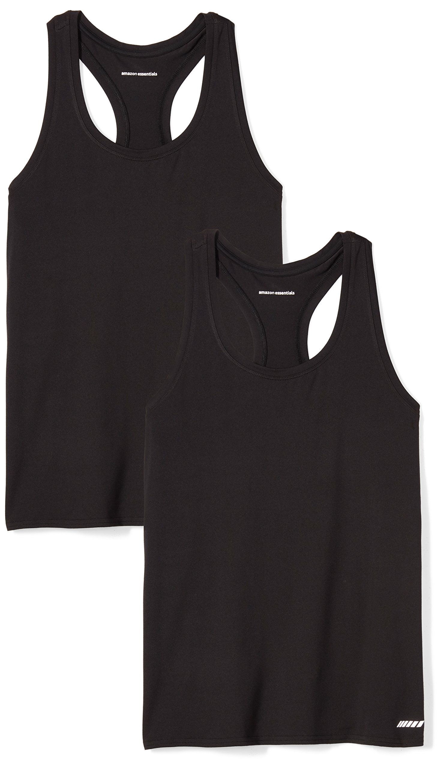 Amazon Essentials Women's Standard 2-Pack Tech Stretch Racerback Tank Top, Black/Black, Medium