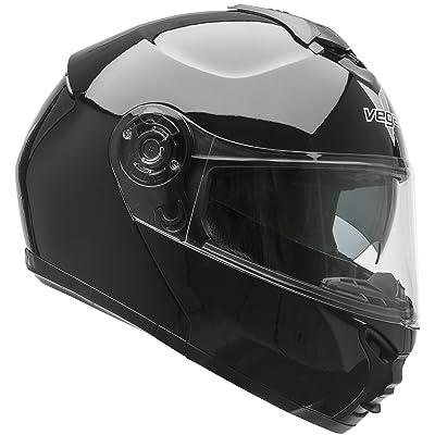 Vega Helmets VR1 Modular Motorcycle Helmet with Sunshield - DOT Certified Half to Full Face Flip Up Motorbike Helmet for Cruisers Scooter Touring Moped, Bluetooth Compat (Black, Medium)