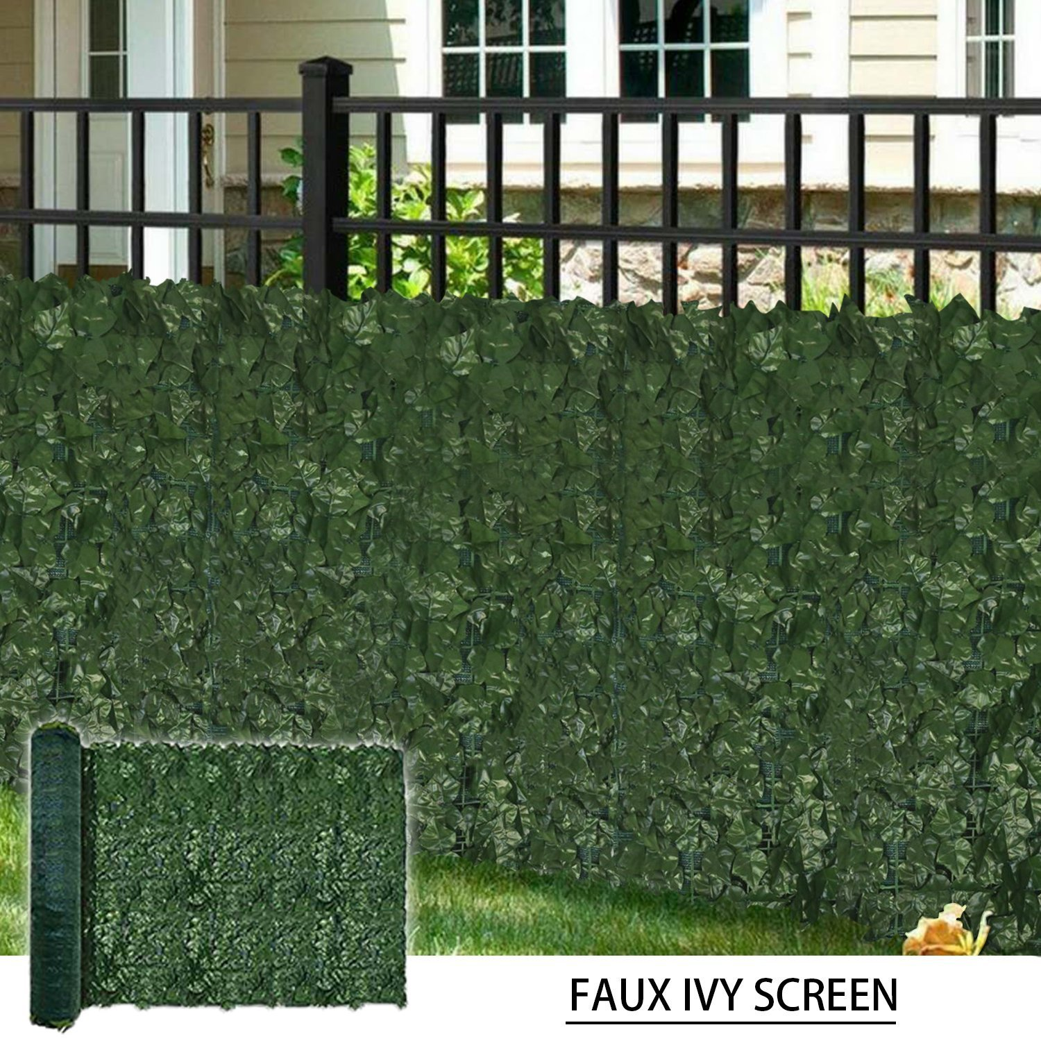 Coarbor 58''X156'' Artificial Faux Ivy Leaf Privacy Fence Screen with Mesh Backing Panels Decorative Perfect for Back Yard Deck Patio Provide More Outdoor Privacy
