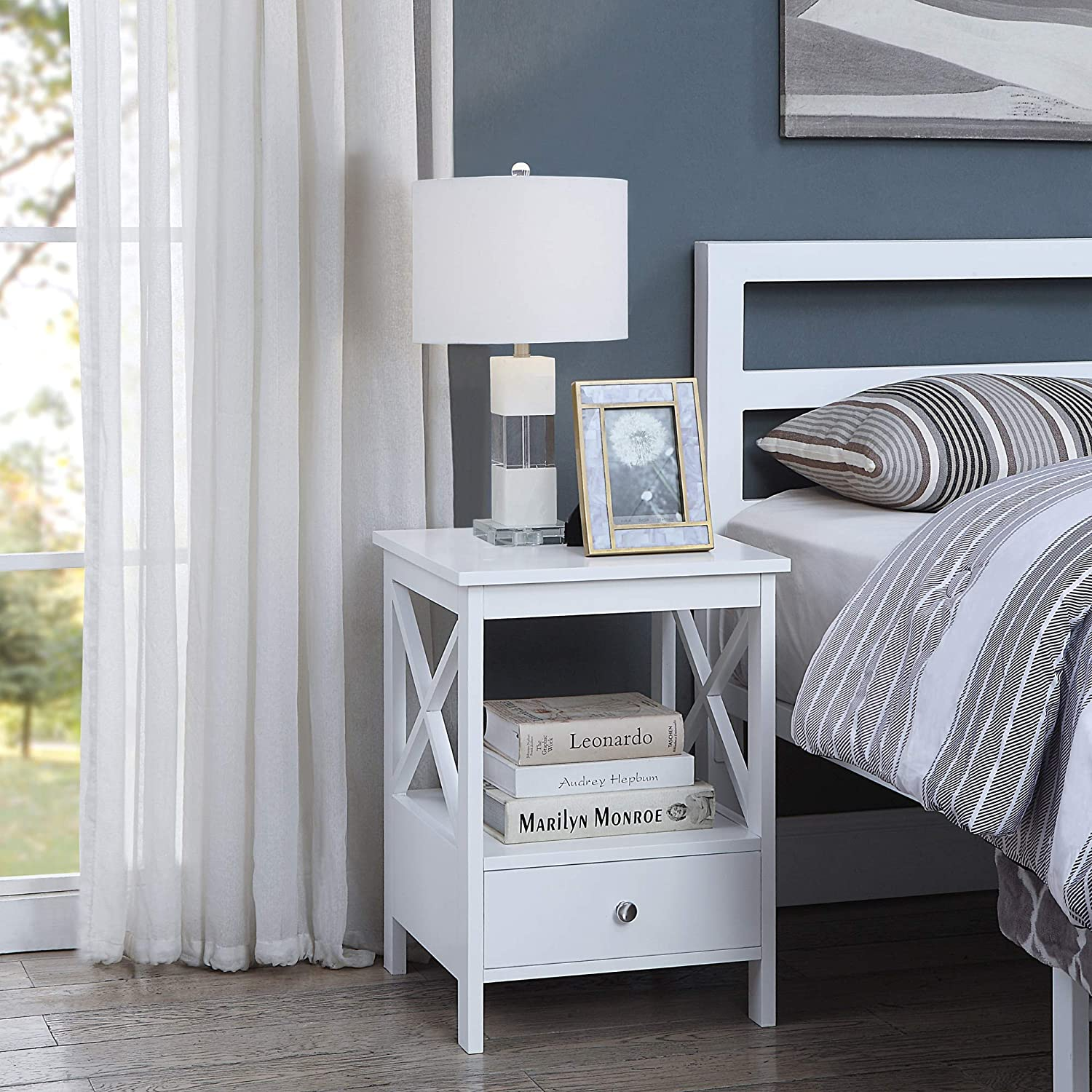White Finish Nightstand Side End Table with Drawer and X-Design Sides