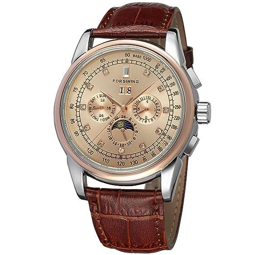 forsining fase de la luna automático alta gama de hombre piel reloj de muñeca fsg319 m3t5: Amazon.es: Relojes