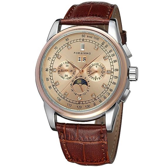 comprare popolare 015f5 45876 Forsining High-end da uomo automatico in pelle per orologio da polso con  fasi lunari FSG319M3T5