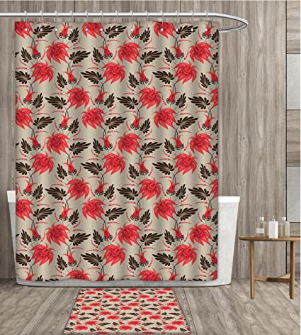 Red And Brown Shower Curtain Polyester Fabric Art Vintage Tropical Flora Antique Classical Summer Foliage