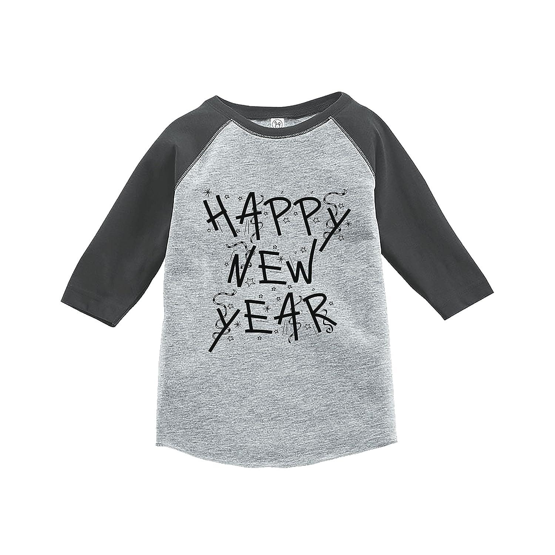 7 ate 9 Apparel Kids Happy New Years Eve Grey Baseball Tee