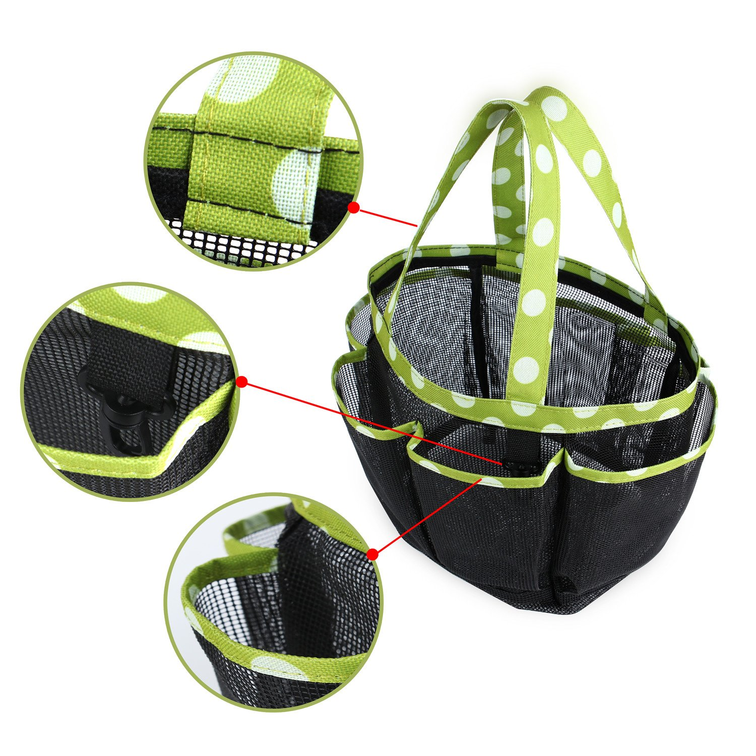 Portable Mesh Shower Caddy with 7 Storage Compartments & Key Hook, Quick Dry Hanging Toiletry and Bath Organizer, Perfect for Dorm, Camping ,Gym, Yoga,Camp & Travel, Green