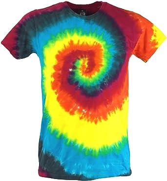 Guru Shop Regenbogen Batik T Shirt Herren Kurzarm Tie Dye Shirt