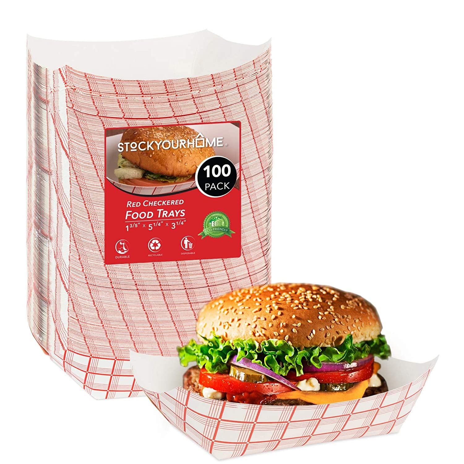 Paper Food Boats (100 Pack) Disposable Red and White Checkered Paper Food Trays - Eco Friendly Red Paper Food Trays 3 Lb – Serving Boats for Concession Food and Condiments, Paper Food Trays 5.75