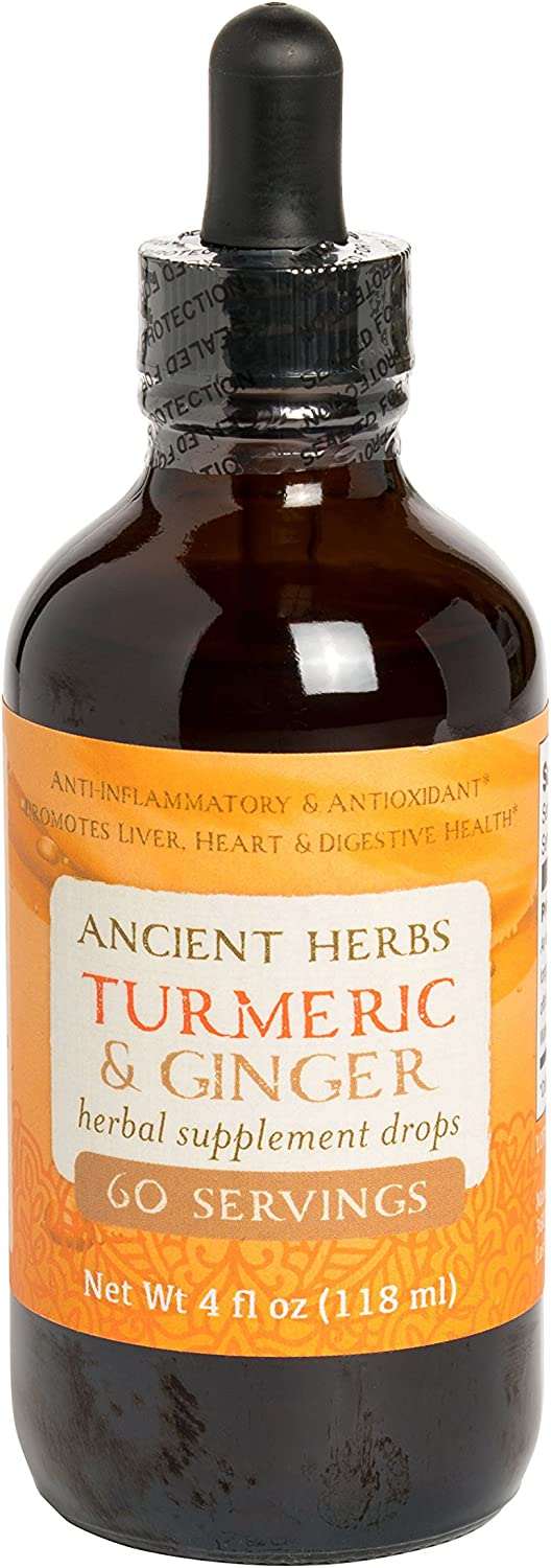 Ancient Herbs, Turmeric Ginger Drops, 4 fl oz, 60 Servings: Health & Personal Care