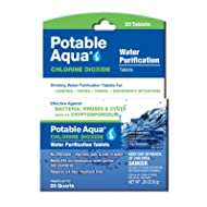 Potable Aqua Chlorine Dioxide Water Purification Tablets - Portable Drinking Water Treatment For Camping, Emergency Preparedness, Hurricanes, Storms, Survival, and Travel