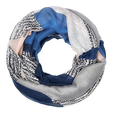 68485afd93 Autiga® Loop-Schal Damen Stern Streifen Schlauchschal blau-beige ...