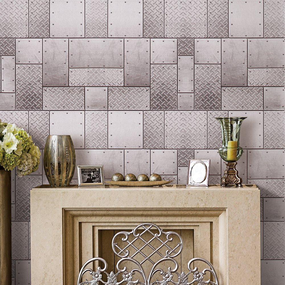 ck701 Fauxメタルネジで壁紙ロール、Industralスタイル壁紙壁壁画ホームキッチンリビングルームレストランバー壁装飾20.8