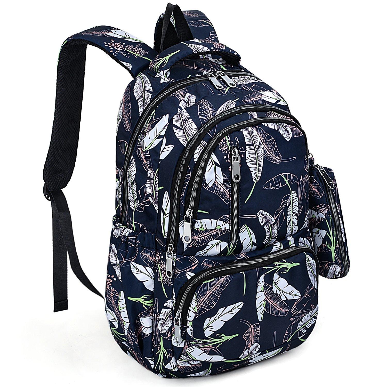 UTO Fashion Backpack Waterproof Nylon Rucksack School College Bookbag Leaves Pattern Shoulder Purse with Pencil Bag Blue