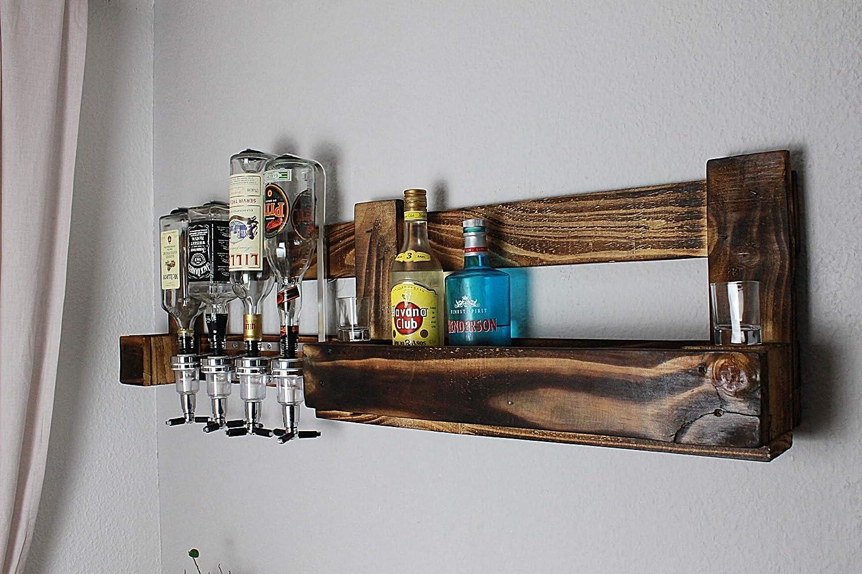 Wandbar mit 4 cl Getr/änkespender aus rustikalen Vintage Paletten Holz geflammte Europaletten