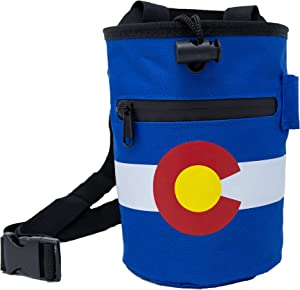 COSendCo Colorado Chalk Bag - Durable, Zipper Pockets, Brush Slots for Rock Climbing and Weightlifting Indoor or Outdoor