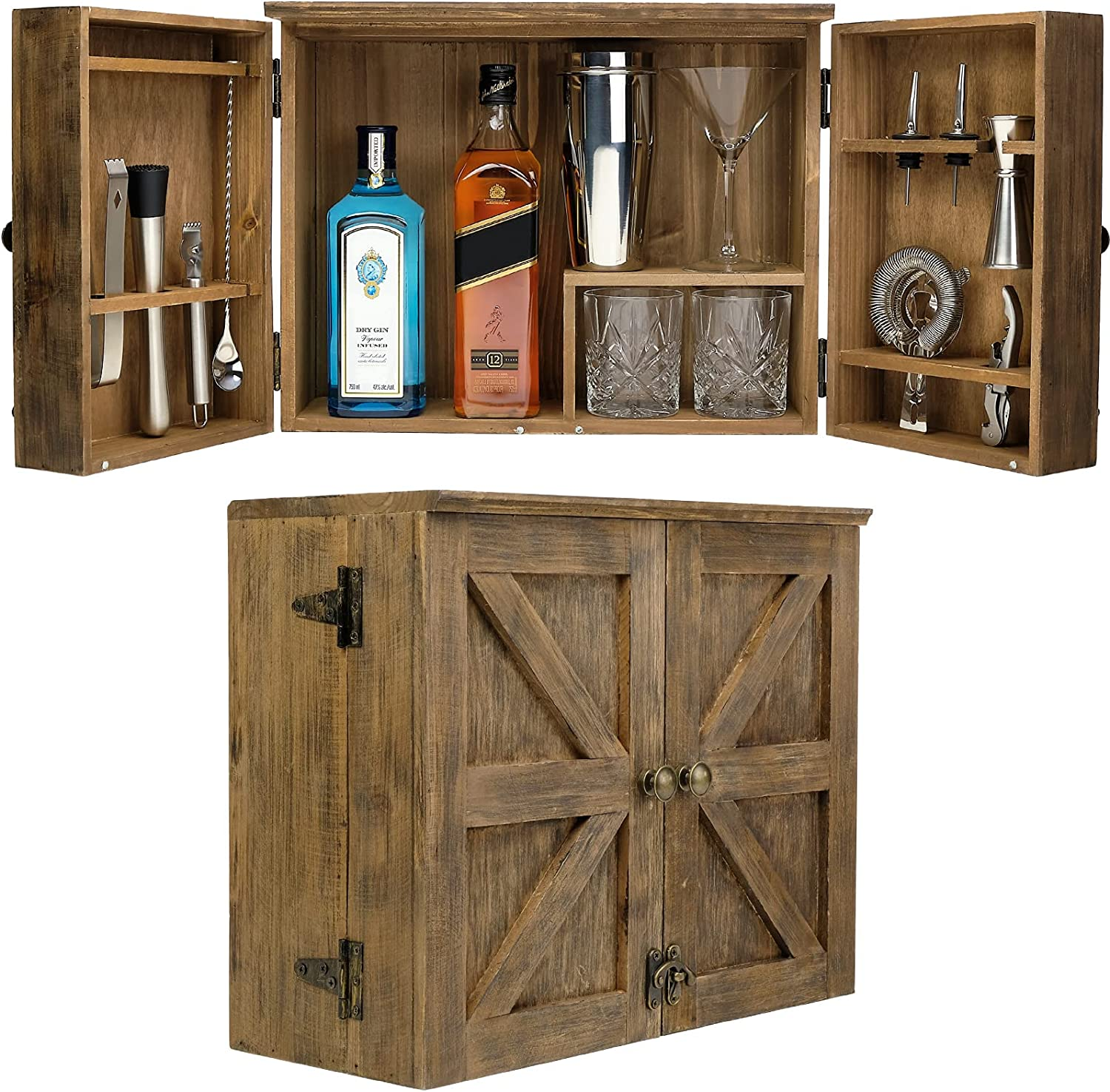 Barndoor Bartender Cabinet with 10 Piece Bar Tool Set - Rustic Brown - The Perfect Kit for Home Bartenders