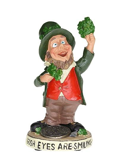 Finnian Statue With Leprechaun Holding A Shamrock And Irish Lucky Penny  Design
