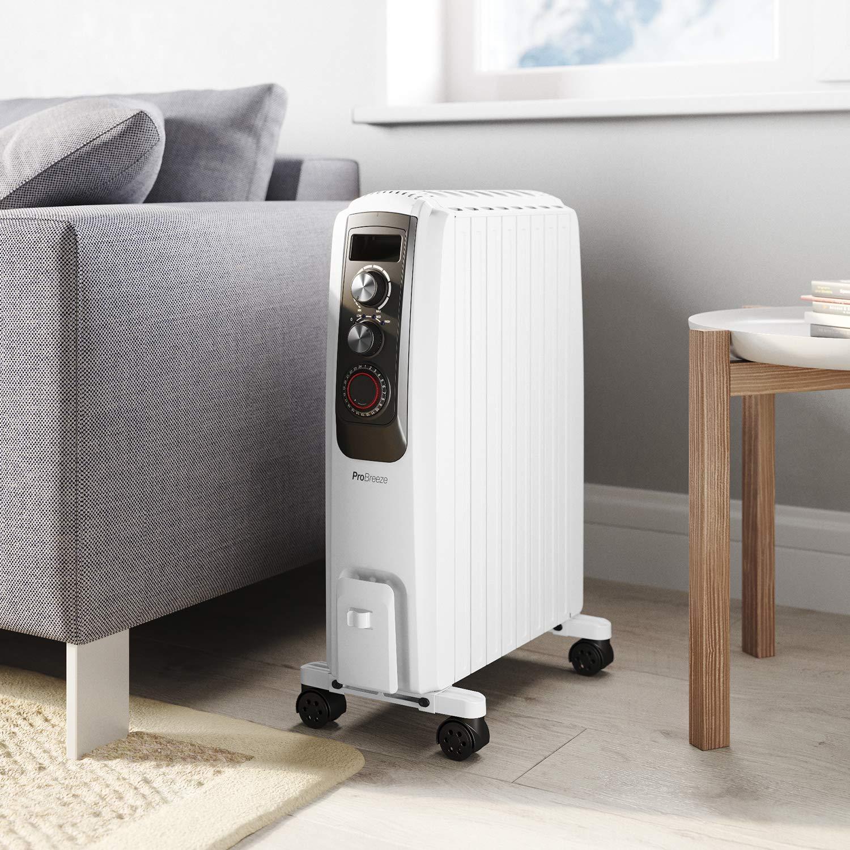 Pro Breeze Radiador de Aceite 2000W - 8 Elementos, 3 Configuraciones de Calor, Temporizador y Termostato: Amazon.es: Hogar