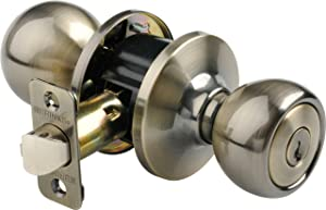 Brinks 2107-109 Ball Style Keyed Entry Door Knob, Antique Brass
