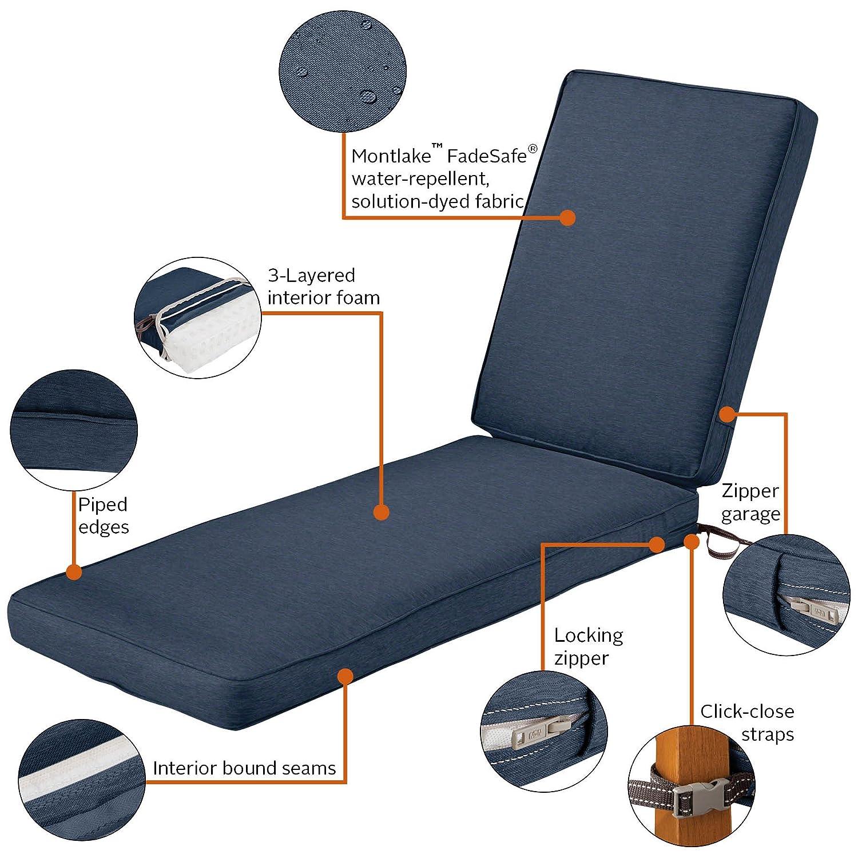 Antique Beige 72x21x3 Thick Classic Accessories Montlake Chaise Cushion Foam /& Slip Cover