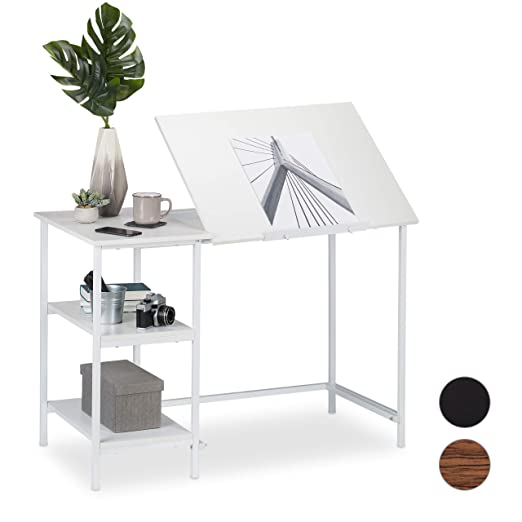Relaxdays Escritorio reclinable, Tres estantes, Ajustable, Mesa de ...