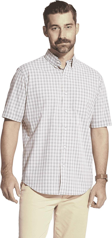 Arrow 1851 Men's Hamilton Poplin Short Sleeve Button Down Plaid Shirt