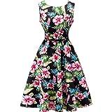 Vintage Kleid,SRANDER 50s Retro kleid Ärmellos Rockabilly Schwingen Cocktailkleider Prom Dress S8000