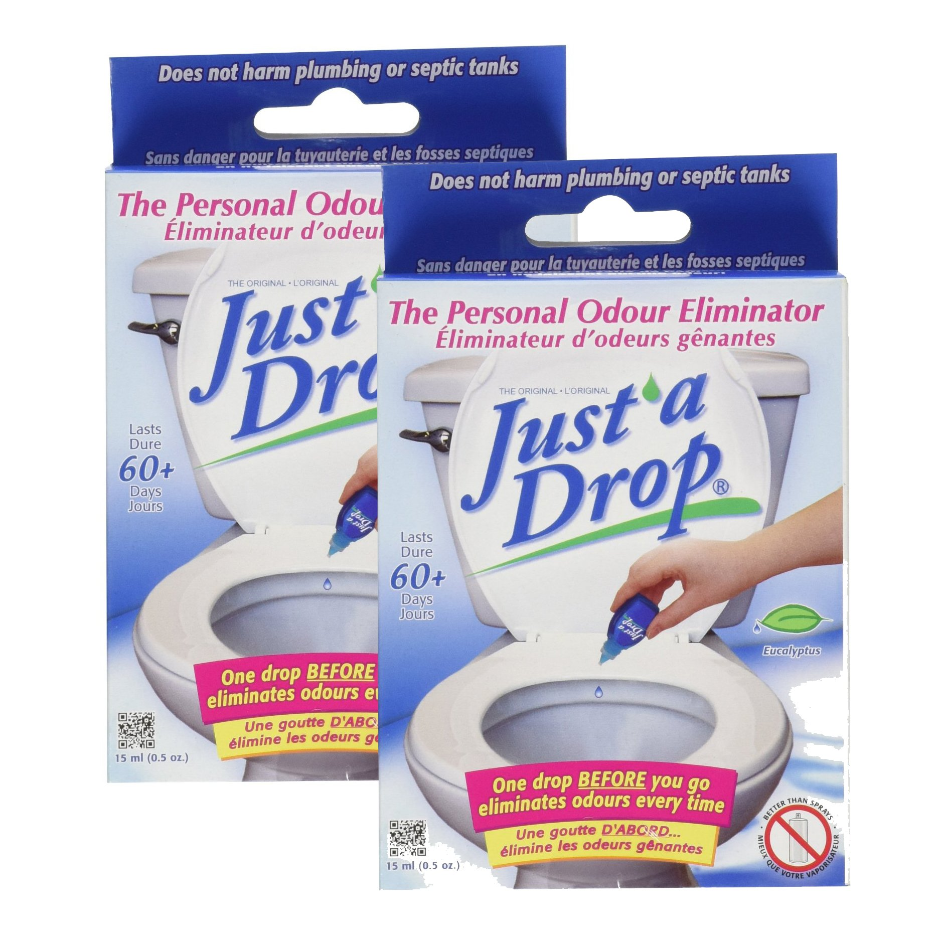 Just A Drop - Natural Toilet Odor Eliminator - Eucalyptus - 15 mL - 2 count by Just A Drop