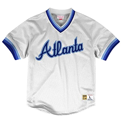 d268ad678 Image Unavailable. Image not available for. Color: Mitchell & Ness Atlanta  Braves MLB Men's Dinger Mesh Jersey ...