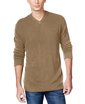 e7a4ceca3 Tricots St. Raphael Mens Solid Textured Chest Pullover Sweater Brown S