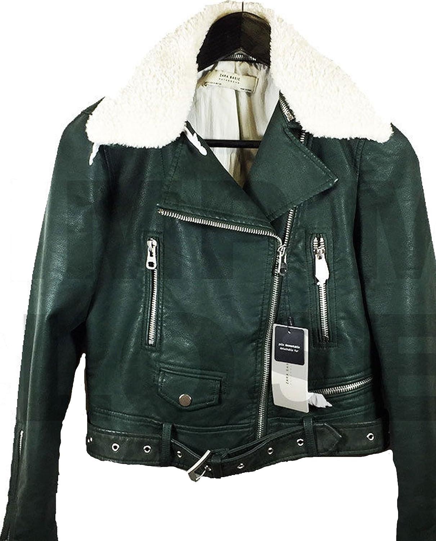 Zara chaqueta de efecto cuero de la mujer 3046/239: Amazon.es ...