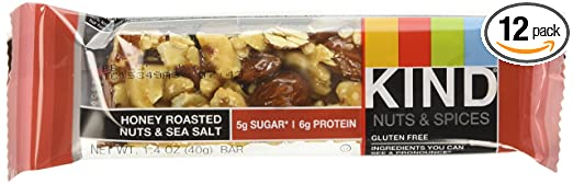 KIND Bars, Honey Roasted Nuts & Sea Salt, Gluten Free, 1.4 Ounce Bars, 12 Count