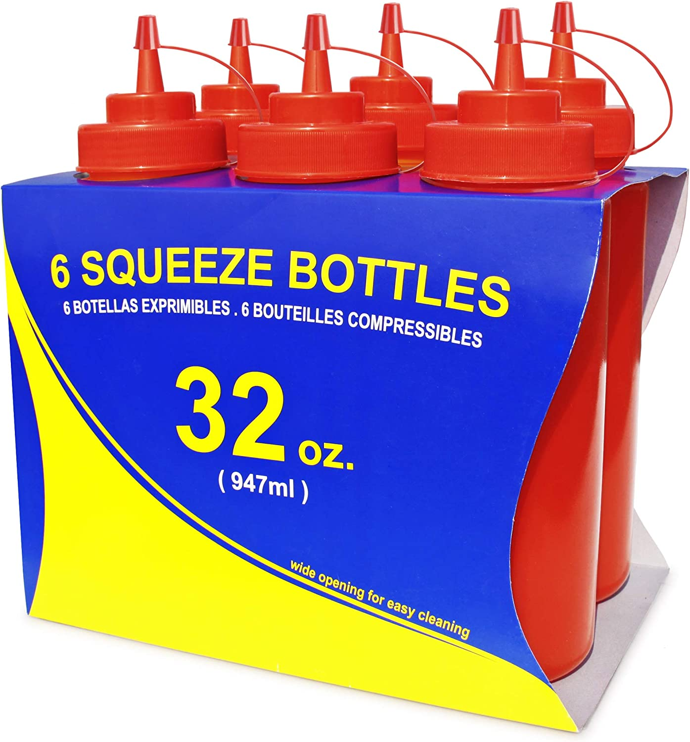 New Star Foodservice 26436 Squeeze Bottles, Plastic, Wide Mouth, 32 oz, Red, Pack of 6