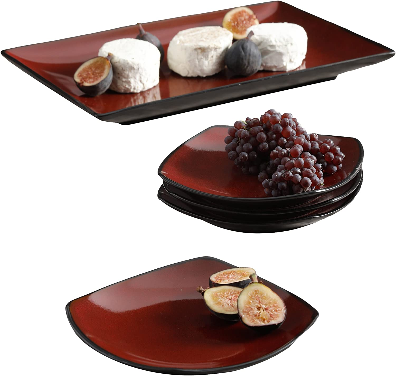 Gibson Soho Lounge Dinnerware set, 5 Piece Serving, Red