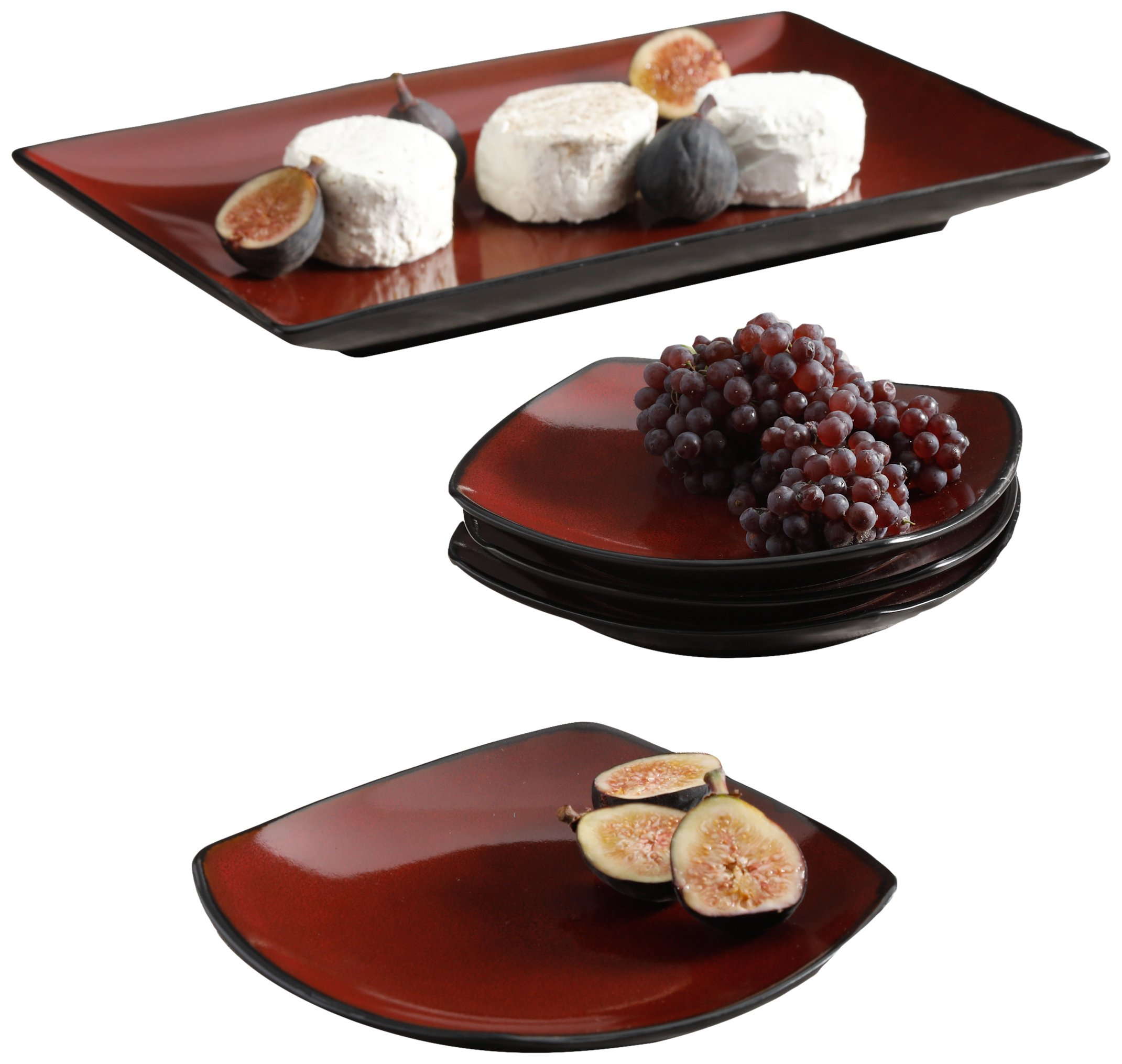 Gibson Home 118537.05R Soho Lounge 5 Piece Serving Set, Red