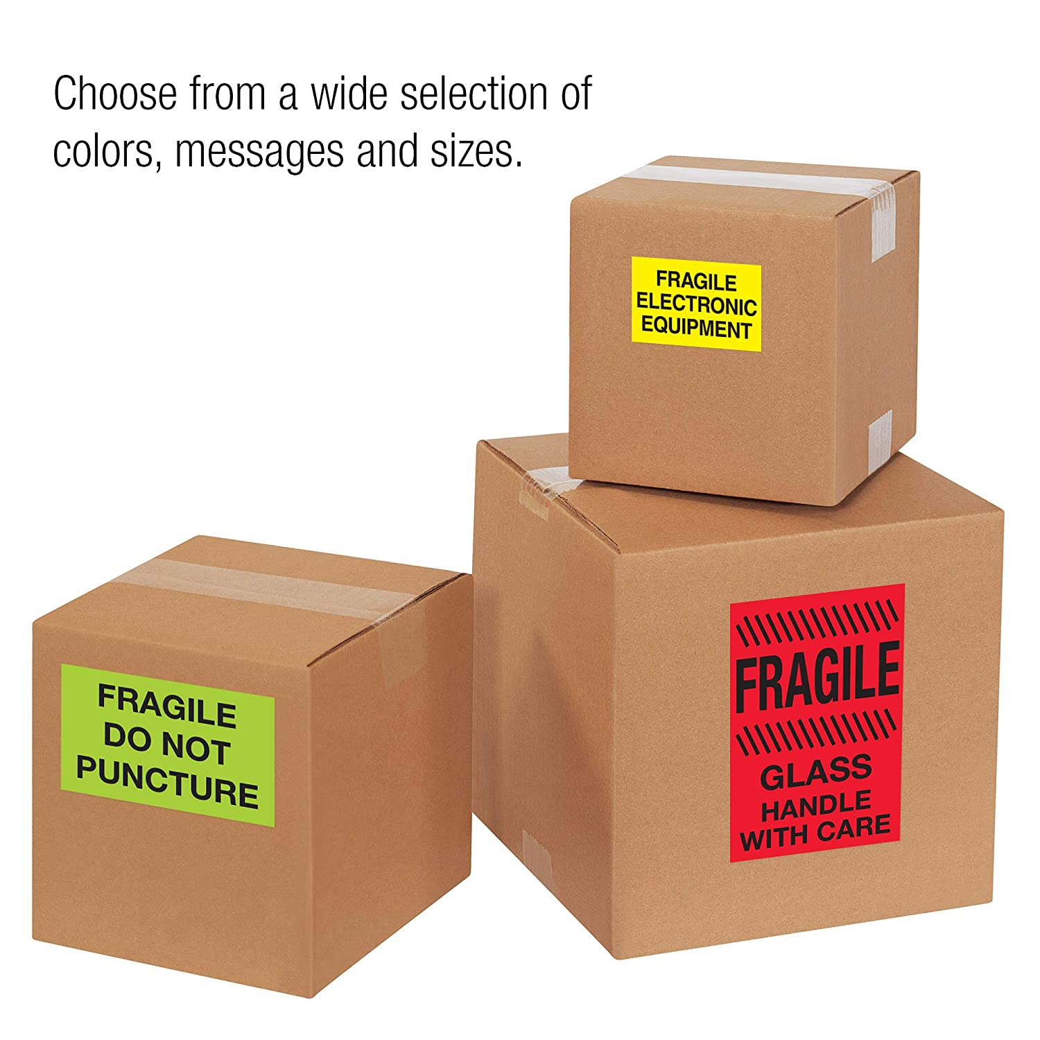 Fluorescent Red 4 x 6 Do Not Stack Labels//Stickers Fragile 500 Labels Per Roll 1 Roll