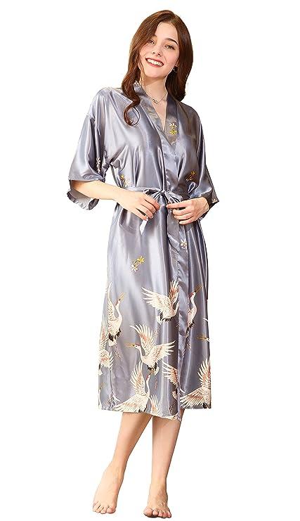 Honofash Kimono Japones Mujer Vestido Largo Novia Seda Talla Grande Bata Saten Cosplay Fiesta Estampado Niña Negro Rojo: Amazon.es: Ropa y accesorios